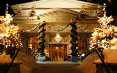 Kulm Hotel Entrance Winter luxury