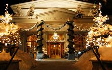 Kulm Hotel Entrance Winter luxury
