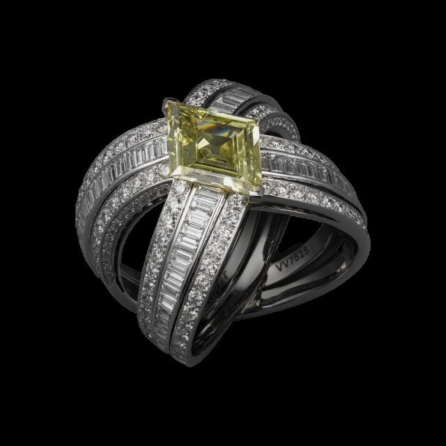 cartier anello diamante giallo