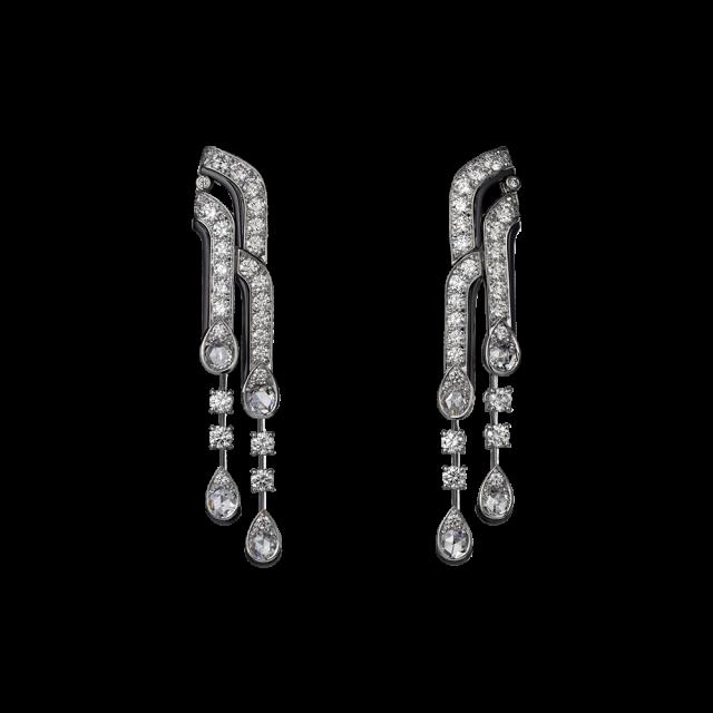 Orecchini Cartier con platino, onice, diamanti taglio rose e brillanti
