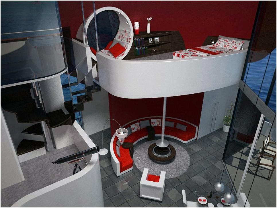 Casa di lusso galleggiante gioiello di design for Mini case interni